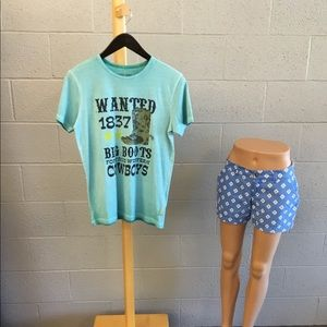 "12Y ""wanted"" KANZ blue tee NEW"